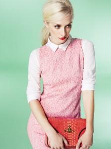 Shift dress £150, Linea White shirt £59, Mary Portas Coral bag £225, Vivienne Westwood.