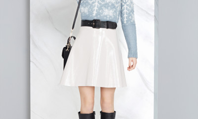Jumper, £35,shiny skirt, £39.50, belt, £15, bag, £79, boots, £109, all M&S