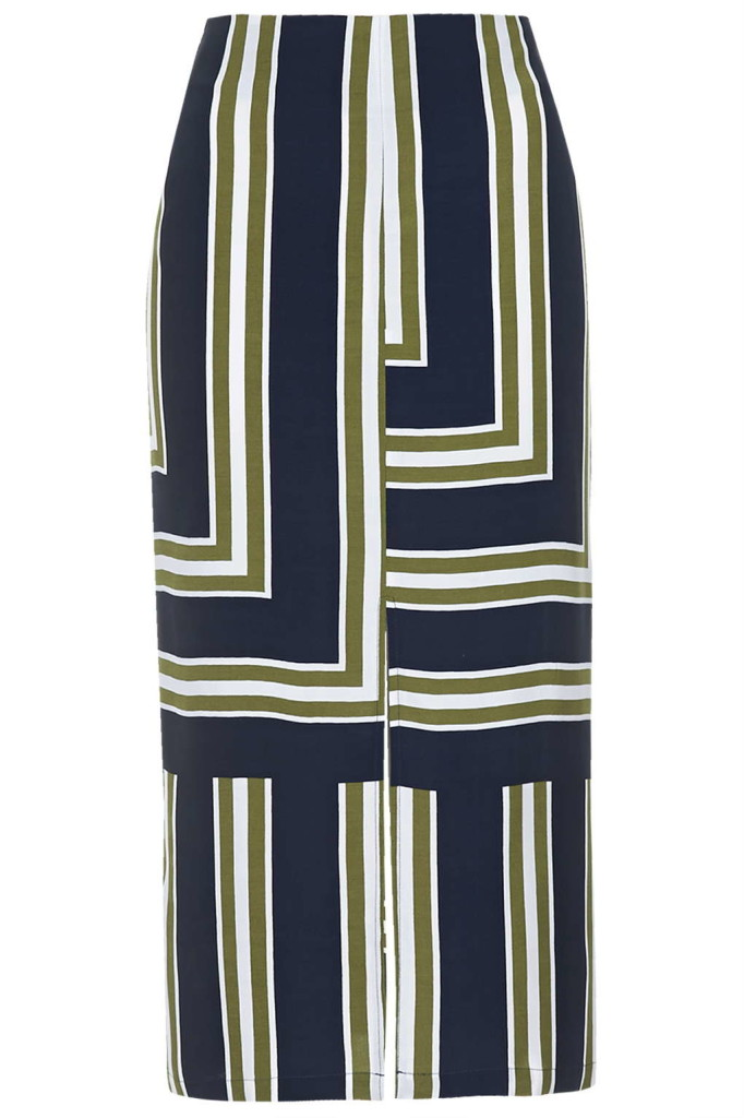 Striped slit skirt, 36, Topshop
