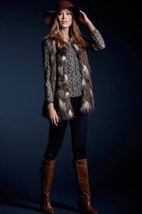 Bubble Hem Gypsy Shirt, £26, jeans, £20, Faux Fur Gilet ,£59, Fedora Hat, £16, all M&Co