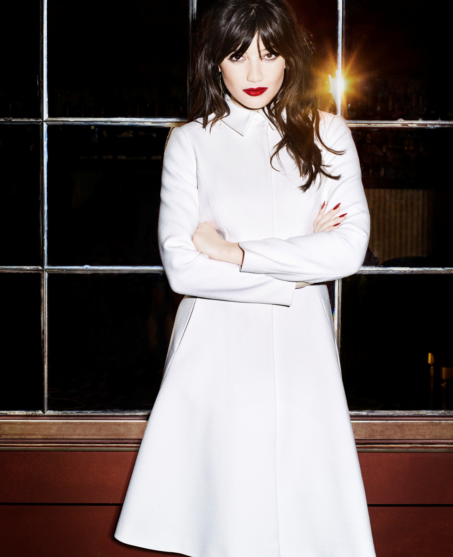 Daisy Lowe sports a coat  from the Giles Deacon collection.