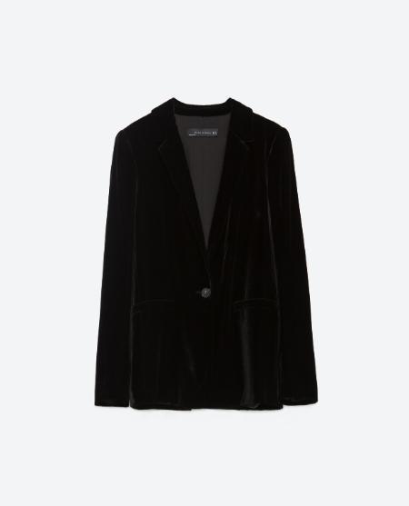 Velvet jacket, £79.99 Zara