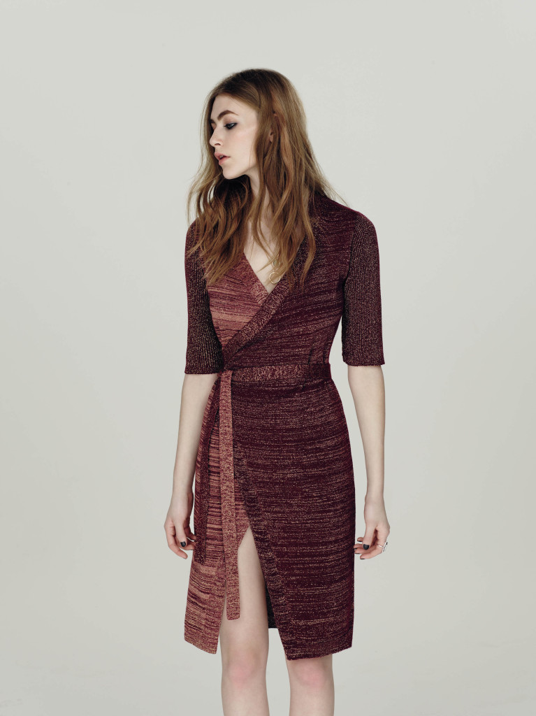 metallic knit wrap dress, £45, Miss Selfridge