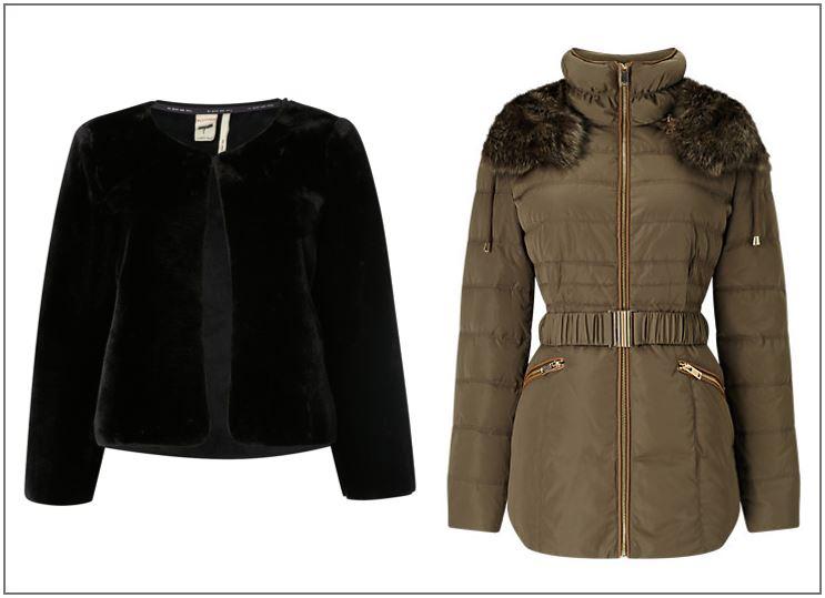 Persian jacket, £55, White Stuff, Khaki fur jacket, £139, Phase Eight.