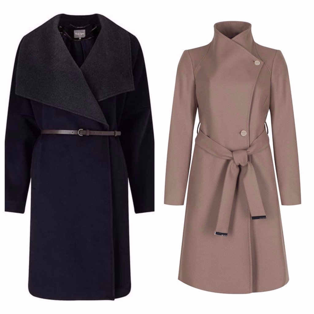 Coat, £11, Phase Eight, camel wrapover, Ted Baker, £199.