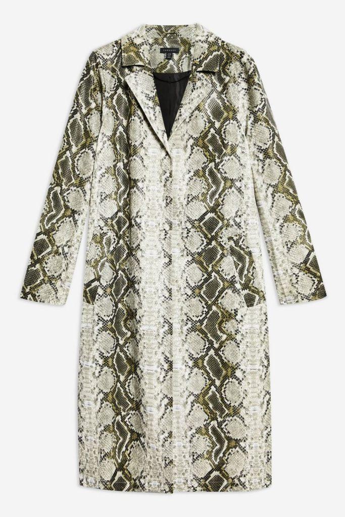 snake print coat, 85 topshop